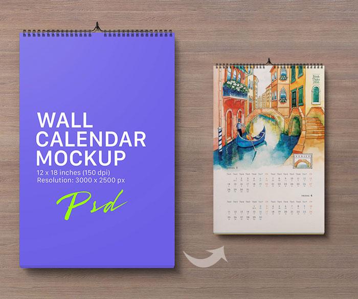 Portrait-Wall-Calendar-Mockup-Free PSD