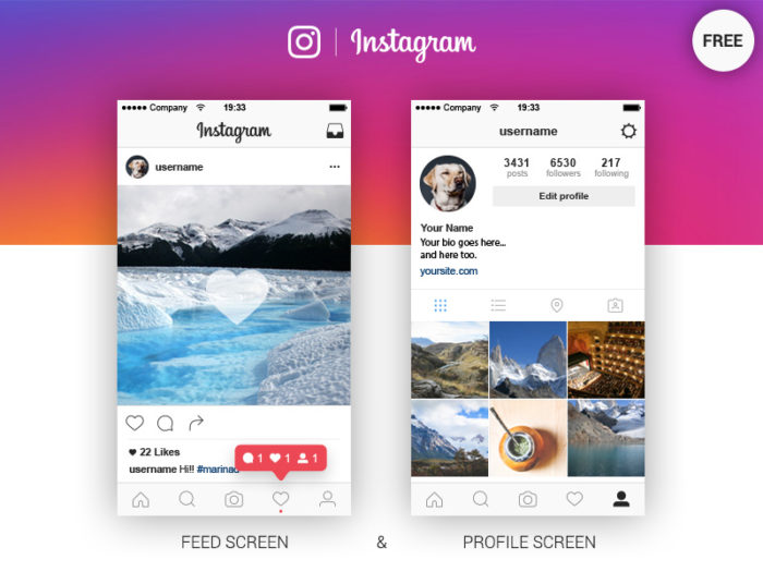 Dribbble-ig-1 Instagram templates to download in your presentations