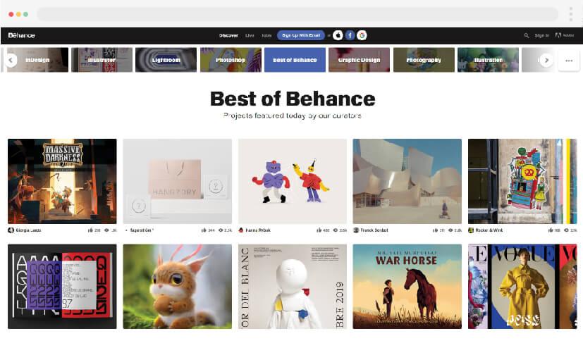 1 inspiration for Behance web design