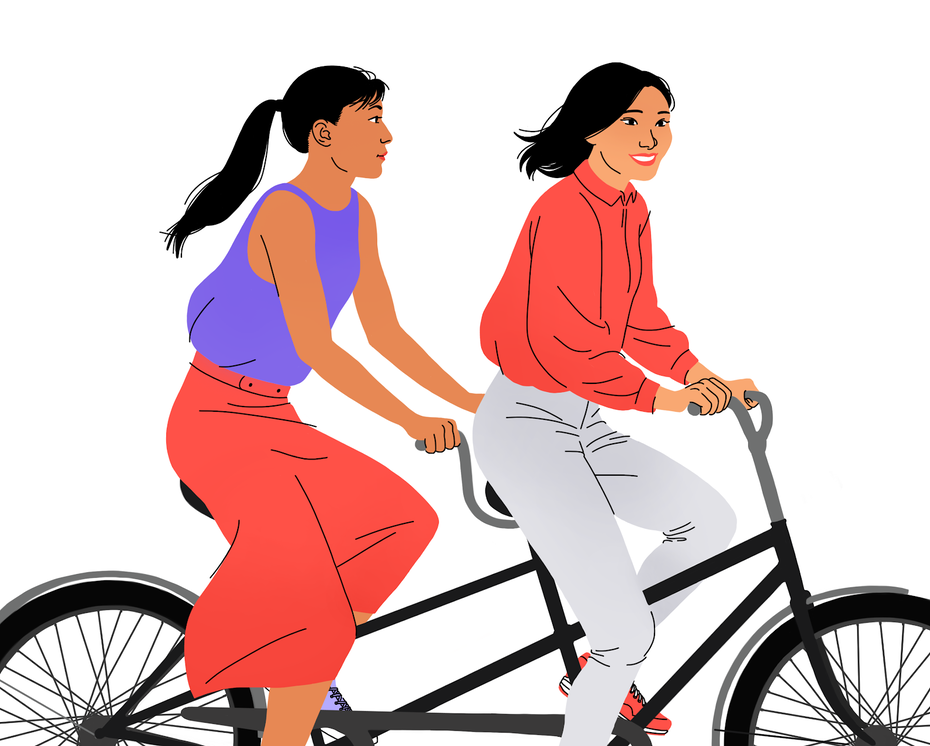 An illustration of two best friends on tandem bikes