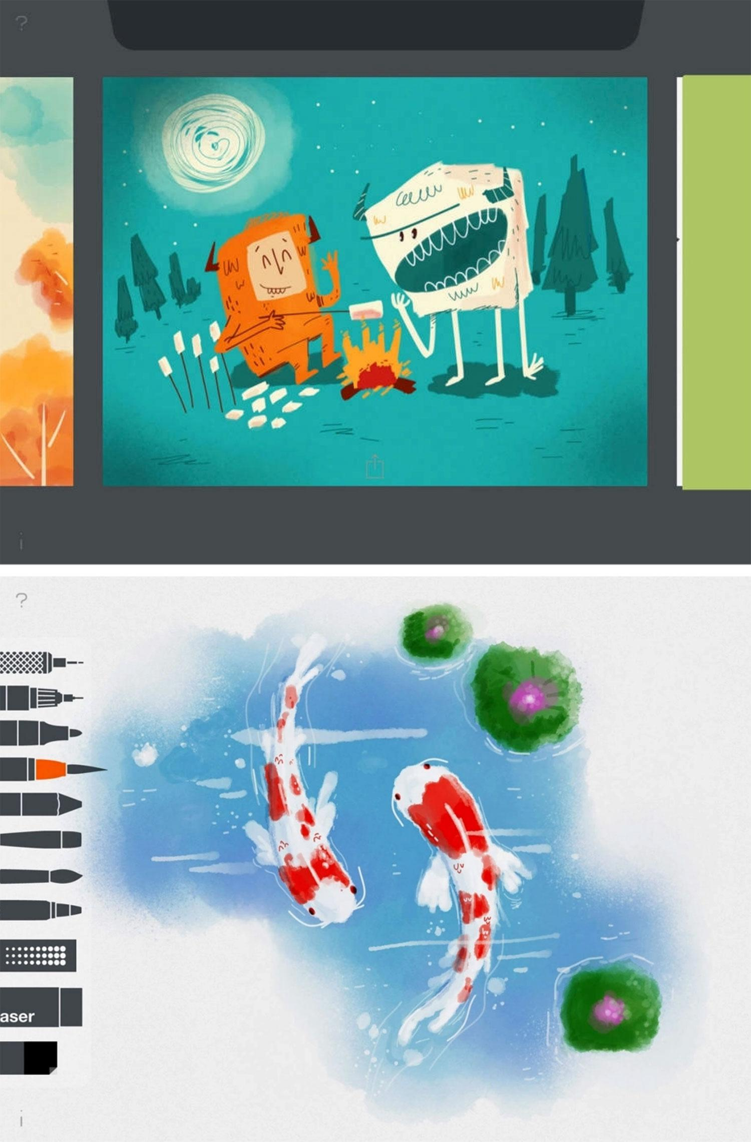 Apps for graphic design: Tayasui Sketches Lite