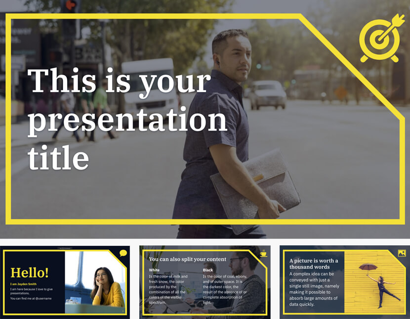 Free Formal Powerpoint Template or Google Slides Theme with Yellow Frame