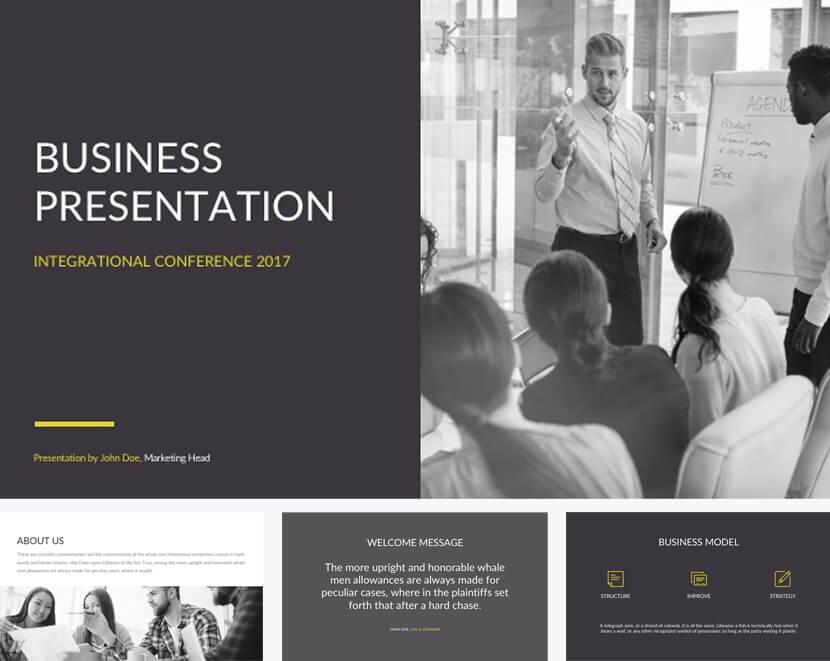 Free minimalistic presentation template for google slides