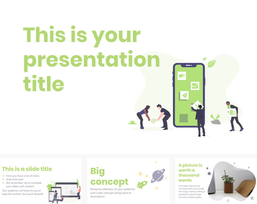 Free Google Slides PowerPoint Template with Teamwork Illustrations