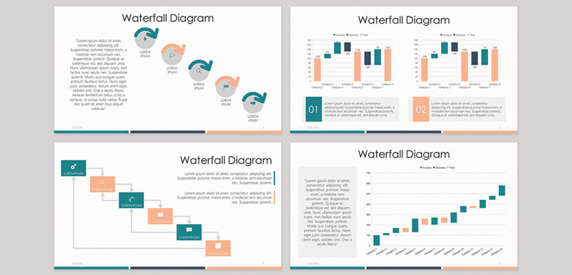 Waterfall diagram infographic free PowerPoint template