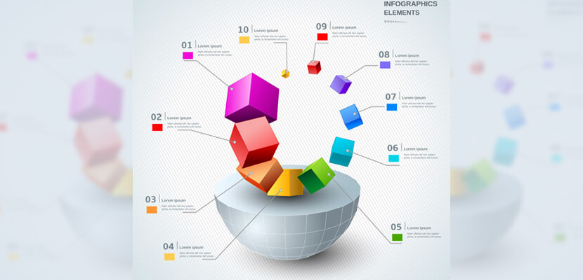 free 3d modern infographic template vector