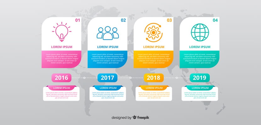 flat design colorful free timeline infographic
