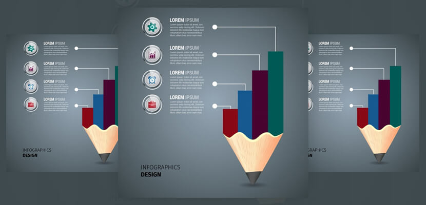 free business infographic template colored pencil and table decoration