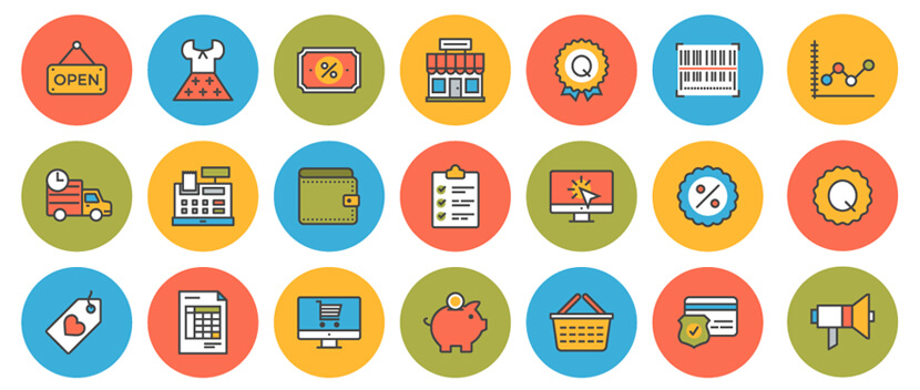Flat Line E-Commerce Free Icon Pack