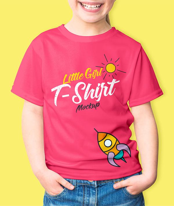 Free T-shirt Mockup Templates PSD - Free Girl's T-Shirt Mockup PSD
