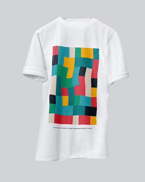 Free folded sleeves t-shirt mockup