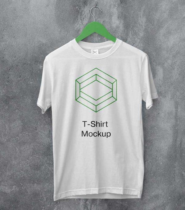 Free Hanging White T-Shirt Mockup PSD