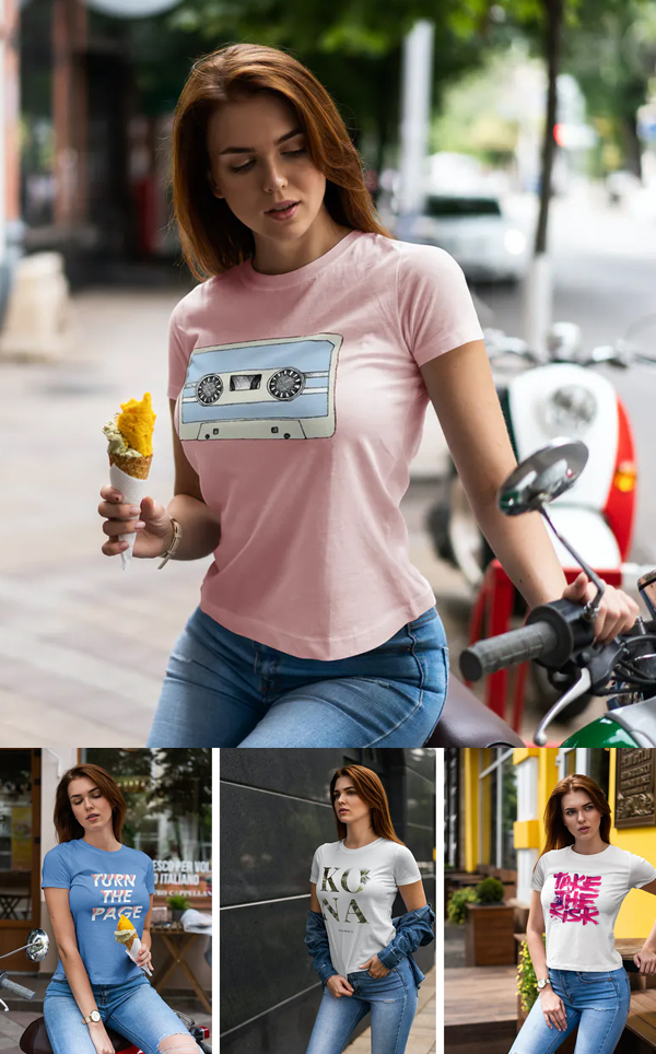 Mockup Walking Girl T-shirt