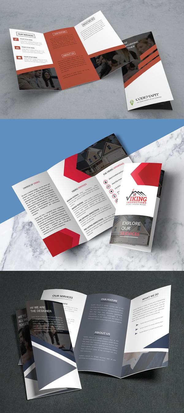 Free Corporate Trifold Brochure Mockups & Template - Free Presentation Mockup Templates