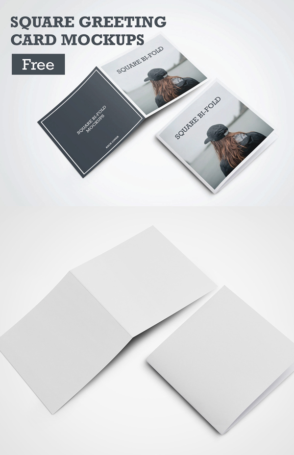 Square Greeting Card Mockups Free PSD