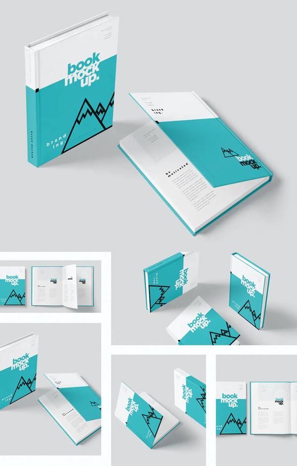 Realistic Book Cover Mockup Templates - Hardcover Book Mockup