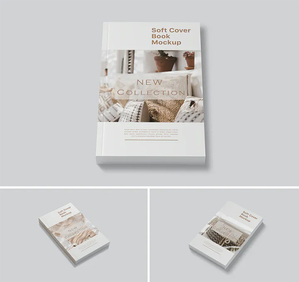 Realistic Book Cover Mockup Templates - Simple Soft Cover Book Mockup