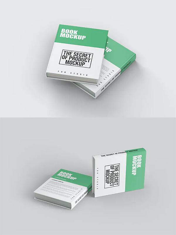Realistic Book Cover Mockup Templates - Elegant Hardcover Book Mockup