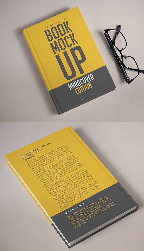 Realistic Book Cover Mockup Templates - High Resolution Photorealistic Hardcover Book Mockup